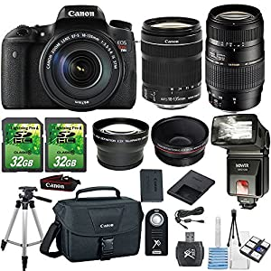 Canon EOS Rebel T6s 24.2MP DSLR Camera with Canon 18-135mm STM Lens + Tamron 70-300mm Lens +.43x Wide Angle Aux Lens+ 2.2x Telephoto Aux Lens+ 2pc 32GB SD Cards+Flash +SD Card Reader+Canon Case+Tripod