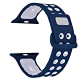 Apple Watch Band - Filoto Silicone Soft Replacement Band for 38mm/42mm Apple Watch Series 1, 2, 3, Sport, Edition, M/L (Blue/White) (Color: Blue/White, Tamaño: 42mm/ M/L)