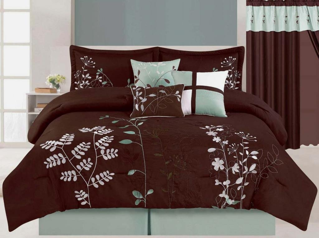 Brown and Teal Bedding