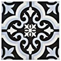 "SomerTile FTC8BRBL Bracara Ceramic Floor and Wall Tile, 7.75"" x 7.75"", Black/Blue/White"