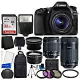 Canon EOS 80D DSLR Camera Body + Canon EF-S 18-55mm IS STM & Canon EF-S 55-250mm IS STM Lens + 58mm 2x Lens + Wide Angle Lens + 32GB Memory Card + Auto Power Flash + UV Filter Kit + Accessory Bundle [並行輸入品]