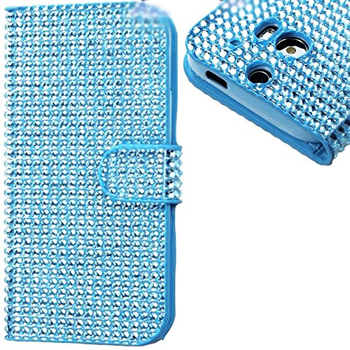 Mylife (Tm) Deep Sky Blue {Rhinestone Design} Faux Leather (Card, Cash And Id Holder + Magnetic Closing) Slim Wallet For The All-New Htc One M8 Android Smartphone - Aka, 2Nd Gen Htc One (External Textured Synthetic Leather With Magnetic Clip + Internal Se