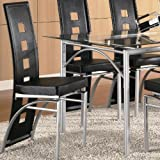 Set of 2 Dining Chairs Black Leather Like Matte Silver Finish