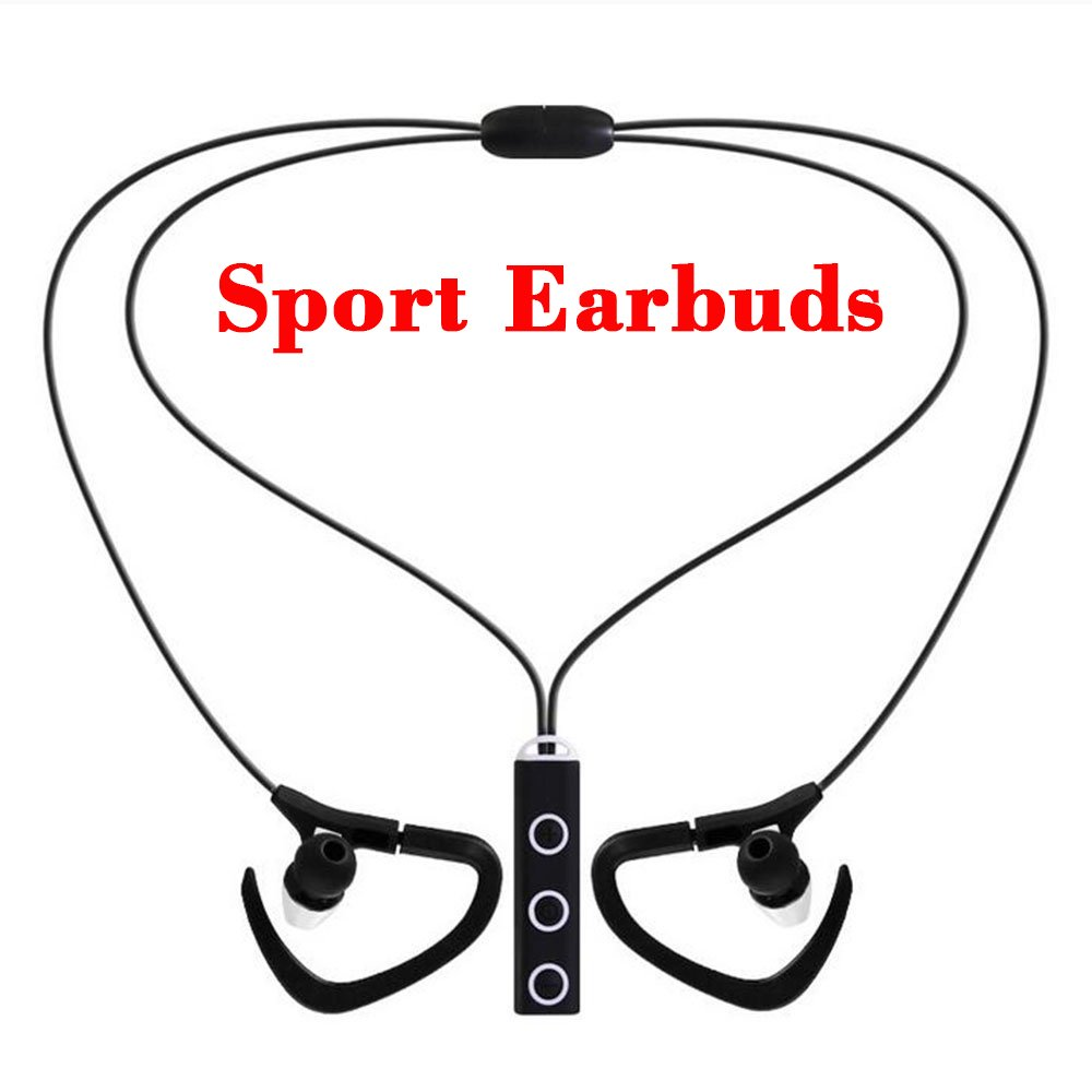 Bluetooth Headphones, eBus Professional Sport Wireless Earbuds V4.1 with Microphone Superb Stereo Sound Universal Headsets Sweatproof Easy Pairing all Smart Phones and computers devices (Black)