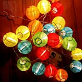 24 Multi Color Mini Nylon String Patio Lights - Extra Long Extendable Indoor Outdoor - 16Ft - Includes Hanging Hooks