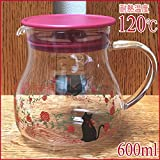 【耐熱温度120℃ & 容量600ml】耐熱ガラス・ティーポット/R 'レッドキャット/猫・ネコ'華やか薔薇&猫のシルエット!ちょっぴり優雅なひとときを。。。