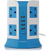 Safemore 8 Way SocketProtection Adaptor Power Strip with 4 USB Ports (Blue & White)
