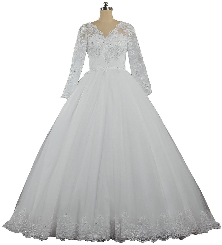 ANTS Women's 2015 Vintage V Neck Long Sleeves Ball Gown Wedding Dress