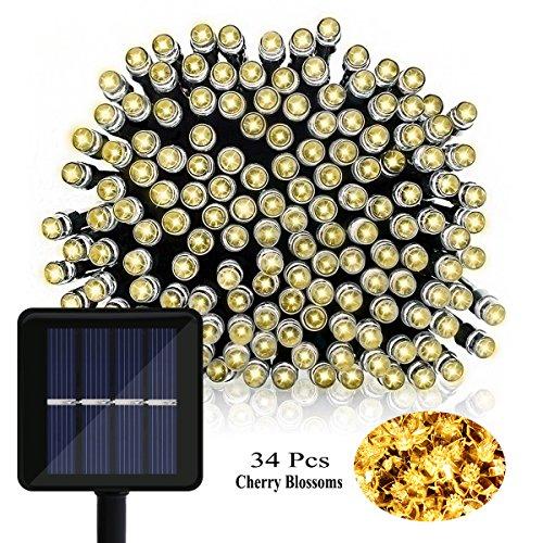 OMGAI Fiore Luci Stringa Solare del LED, 39Ft 100LED Fiore di Ciliegio Luce Natalizia per il Natale Decorazione di Festa di Giardino del Patio di nozze Capodanno Bianco Caldo