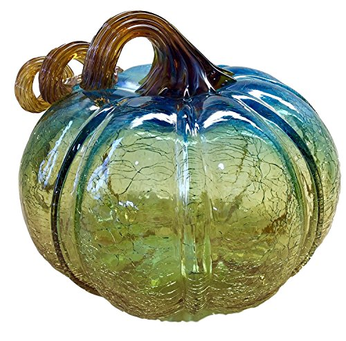 nova-glass-handmade-pumpkin-medium-crackle-clear-blue-tan-8-one-of-a-kind