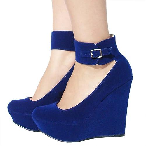 Women's Qupid Blue Velvet Ankle Strap Platform Wedge Sandal