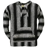 Old Glory - Mens Stripe Woven Baja Hoodie - Medium Black