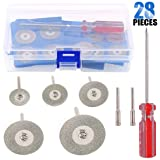 Glarks 25-Pieces 18/22/ 25/30/ 40mm Diamond Cutting Wheel Cut Off Discs Coated Rotary Tools for Dremel Rotary Tool with 2 Pack Mandrel and 2 Pack Screwdriver