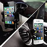 2-in-1 Mobile Phone Car Mount, Holder - Universal Fit - Secure Cell Phone/GPS to Windshield or Air Vent in Vehicle - Installs in Seconds - Padded, Adjustable Grips for Safety and Security - Hands Down the Best Mount Youll Own! - Fits Iphone 6, 6+, 5, 5s, 5c, 4, 4s, Android Samsung Galaxy S5, S4, S3, Note 3 and All Other Smartphones - Black Color - 2 Year Warranty Included