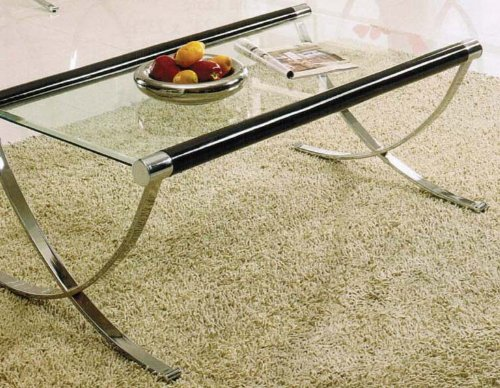 Coffee Table with Cross Metal Base in Chrome Finish