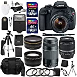 Canon EOS Rebel T5 Digital SLR Camera Body with EF-S 18-55mm IS + EF 75-300mm f/4-5.6 III + 58mm Wide Angle and 58mm Telephoto Lenses + 40 GB Storage + Tripods + 4 Filters + Deluxe Bag + Extra Accessories