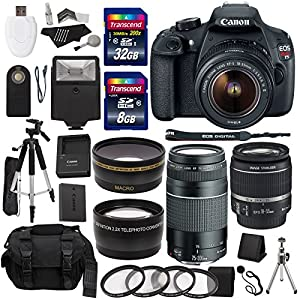 Canon EOS Rebel T5 Digital SLR Camera Body with EF-S 18-55mm IS + EF 75-300mm f/4-5.6 III + Studio Series 58mm Wide Angle and 58mm Telephoto Lenses + 40 GB Storage + Tripods + 4 Filters + Deluxe Bag + Extra Accessories