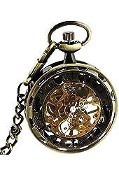 Steampunk Gilt Bronze Frame Stainless Steel Hand Winding Mechanical Pocket Watch Open Face Fob for Men Woman Goldmice