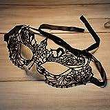 レースアイマスク パーティーマスク レースとリボン 仮装用 仮面 ハロウィン舞踏会コスプレイベント 仮面パーティー セックス 透かし彫りと定型小尖頭柄のレース仮面-ブラック