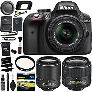 Nikon D3300 AF-S Digital SLR Camera 18-55mm Zoom Lens, Nikon AF-S DX NIKKOR 55-200mm f/4-5.6G ED Vibration Reduction II Lens, Filter, Cleaning Kit & Accessory Bundle International Version No Warranty