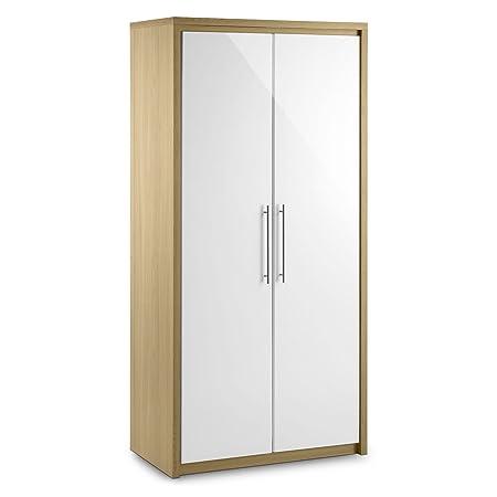 Estocolmo 2 puerta armario - todo de armario - roble y blanco - acentos de plata - MDF