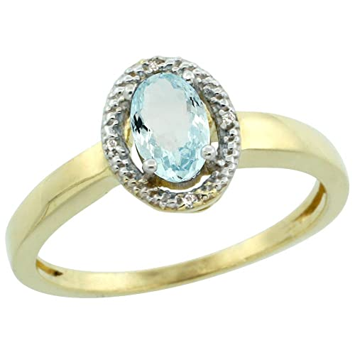 9ct Yellow Gold Diamond Halo Natural Aquamarine Ring Oval 6X4 mm, sizes J - T