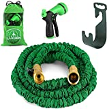 Expandable Hose, 75 Feet Expandable Garden Hose With Free Nozzel, Hose Hanger, Hose Storage Bag, And Hoses Expandable Valve Included. 75 Feet