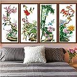 Joyautum Plum Orchid Bamboo Chrysanthemum Needlework,Cross Stitch,Sets for Embroidery Kits,Precise Printed Pattern Cross-Stitching DIY Handmade