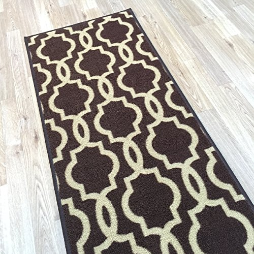 """Rubber Backed 21"""" X 60"""" Fancy Moroccan Trellis Chocolate"""
