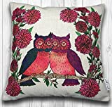 Designer Cover for Decorative Pillows: Made With Quality Cotton Linen Fabric, These Owl Pillow Covers are One of A Kind Original, Hand Drawn in California By: InkedInRed