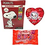 Peanuts 16 Valentine Cards and Pencils with Charms Lollipops Classroom Exchange Bundle