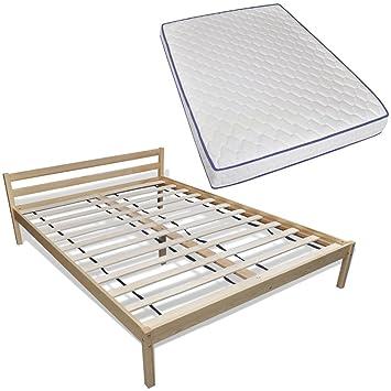 vidaXL Madera cama 200x 140cm con Memory Foam colchón