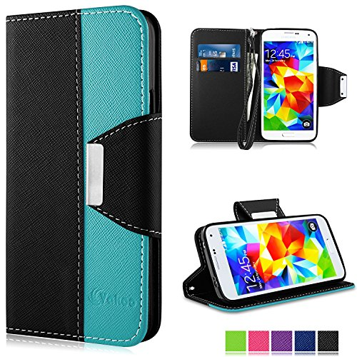 Custodia Galaxy S5, Vakoo Stile Libro Cover Premium Custodia in PU Pelle Flip Case Wallet Cover per Samsung Galaxy S5, Nero Blu