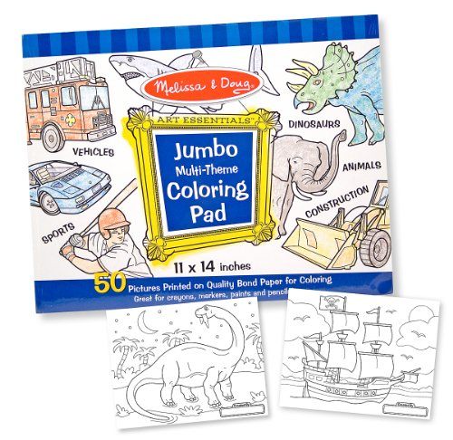 Melissa & Doug Jumbo 50-Page Kids' Coloring Pad - Space Sharks Sports and More (Kids Coloring Pad compare prices)