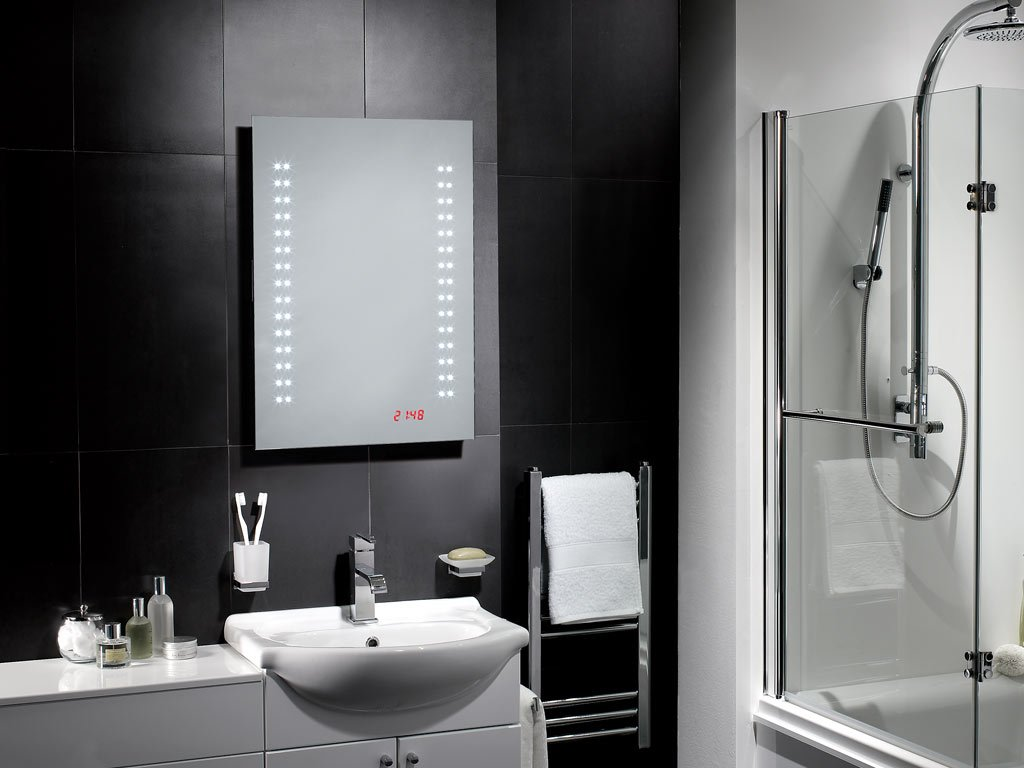 Tiempo LED IP44 Mirror 500mm(W) x 700mm(H) with Sensor, Shaver, Digital Clock and Full Size Demister Pad for Bathroom   NEXT DAY DELIVERY       Customer reviews and more information