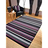 Trend Purple Pink Stripe Design Rug. Available in 8 Sizes (200cm x 290cm)