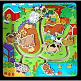 Find The Path Farm Animals Wooden Puzzle Pegs Board Game- Perfect Brain Development Toys For Growing Child