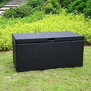 Resin Wicker Storage Trunk Color: Black
