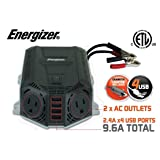 ENERGIZER 500 Watt Power Inverter 12V DC to AC + 4 x 2.4A USB charging ports Total 9.6A (Tamaño: 500W)