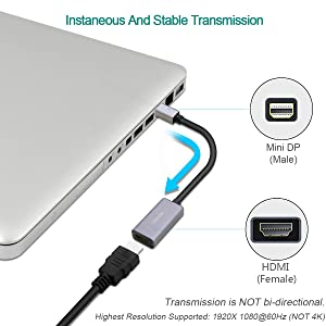 Mini DisplayPort to HDMI Adapter, Benfei Mini DP to HDMI Adapter Compatible with MacBook Air/Pro, Microsoft Surface Pro/Dock, Monitor, Projector and More - Grey