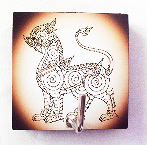 agility-bathroom-wall-hanger-hat-bag-key-adhesive-wood-hook-vintage-thai-lion-singhas-photo