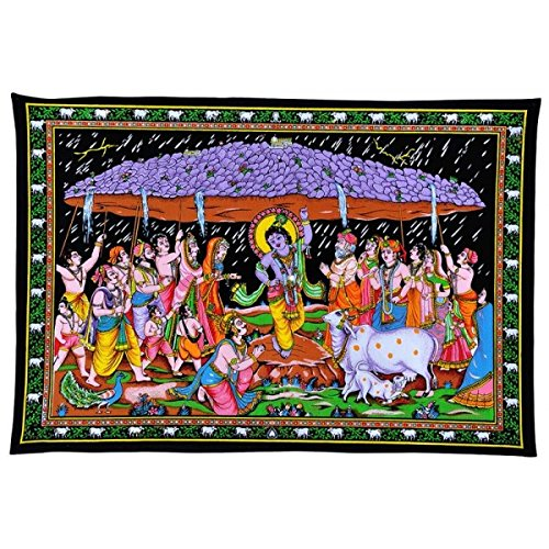 Cotton Tapestry Depicting Lord Krishna Lifting Govardhan Mountain