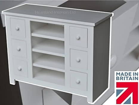Solid Pine TV Unit, Handcrafted & White Painted Multi-Media 6 Drawer Unit. No flat packs, No assembly (CTV-6DP)