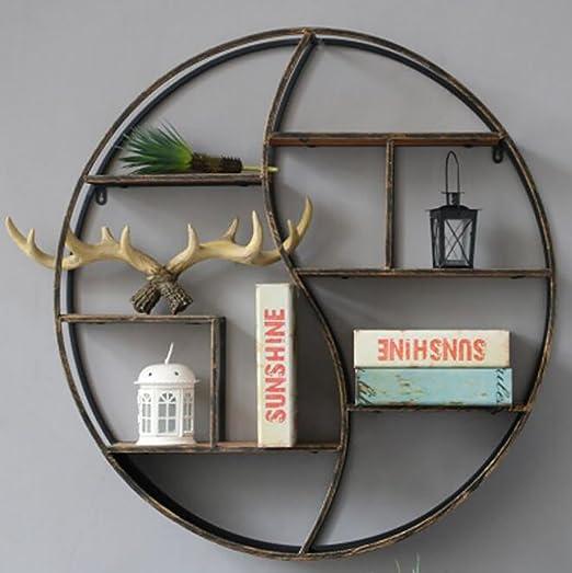 FGSGJ Parete europea del soggiorno che appende le retro mensole del ferro Scaffale creativo di legno solido delle pareti divisorie del banco Espositore rotondo ( dimensioni : 80*80*12cm )