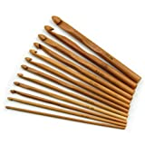 12 Pcs Wooden Crochet Hooks 3mm-10mm Smooth Eye Blunt Bamboo Knitting Needles Set Weaving Craft Tool by SamGreatWorld (Color: 12pcs Wood)
