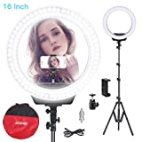 ZOMEI Ring Light Kit,16 inch Ring Light with Stand,LED Dimmable 50W Adjustable 3200-5500K Carrying Bag for Camera Smartphone, You Tube,Self-Portrait Shooting Good for Beauty Facial Make Up Live Stream (Color: Black)