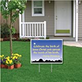 Celebrate the Birth of Jesus Christ Christmas Lawn Display Yard Sign Decoration