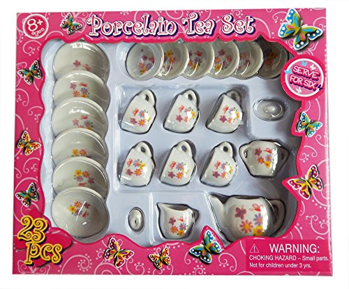 23 Piece Mini Porcelain Tea Set - Butterflies & Flowers