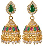 Violet & Purple Gold Alloy Jhumki Earrings for Women (1000029585)