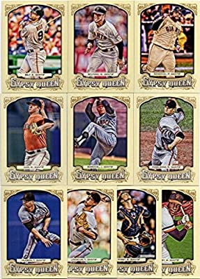 San Francisco Giants 2014 Topps Gypsy Queen MLB Baseball Complete Mint 10 Basic Card Team Set with Buster Posey, Willie Mccovey, Tim Hudson, Juan Marichal, Tim Lincecum Plus